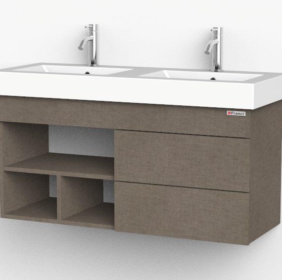 Lino Terra doble bacha con cajones y estantes